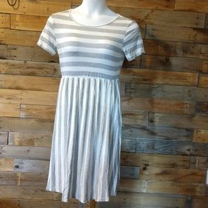Gray and white striped dress by Riah Fashion